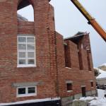 Прошли уровень первого этажа при кладке внешней стены мечети с северной стороны.