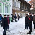 Освободили крышу мечети от снега