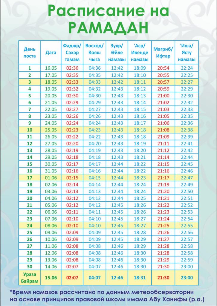 Расписание намаза на Рамадан 2018